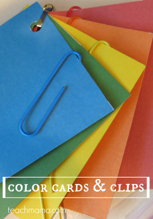color cards and clips: fine motor fun