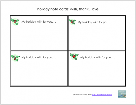 holiday note gift idea for families | teachmama.com