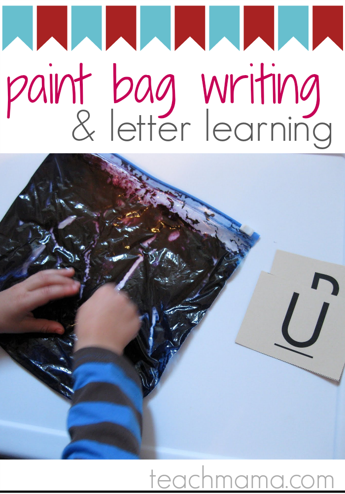 paint bag writing and letter learning | teachmama.com