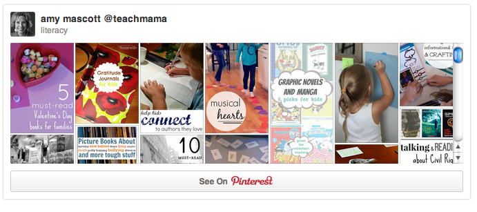 teachmama literacy pinterest board