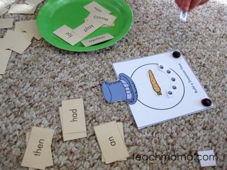 read a word, build a snowman | early literacy game | sight words | teachmama.com