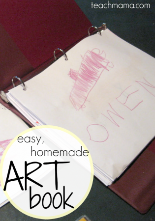 our easy, homemade art book: keep artwork organized!