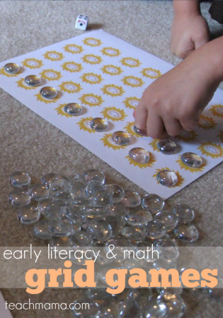 early literacy and math grid games: rainy day