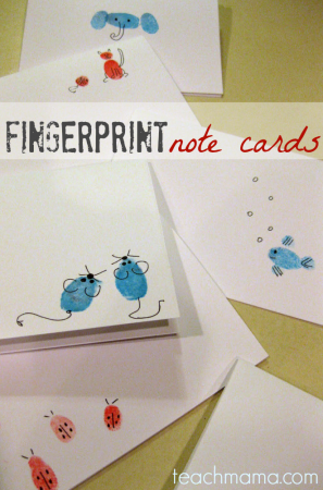 teacher appreciation–finger print note cards