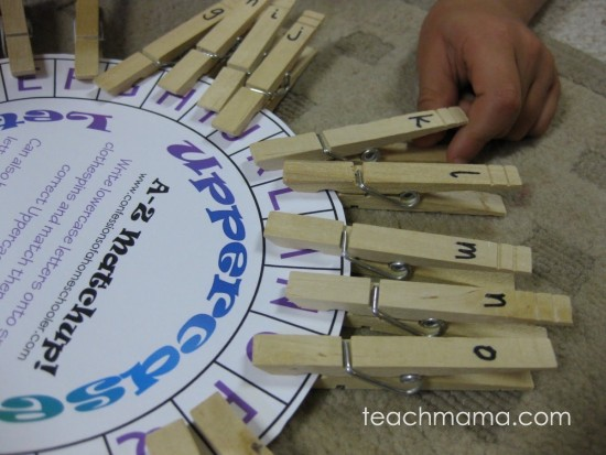 clothespin number and letter match-up game | teachmama.com