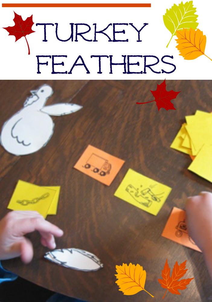 playing turkey feathers: matching beginning sounds