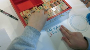 word building, letter writing, stamping to spell