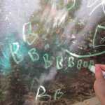 window writing: spelling word and letter practice
