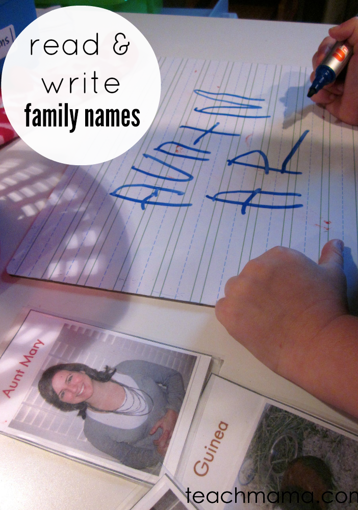 Reading And Writing Family Names With Family Playing Cards