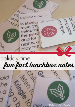 holiday time fun-fact lunchbox notes