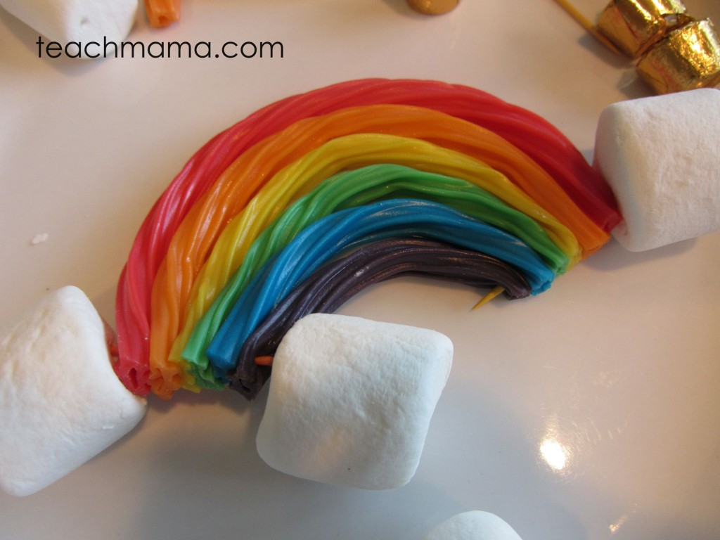sweet rainbow kabobs | st patty's day treat teachmama.com