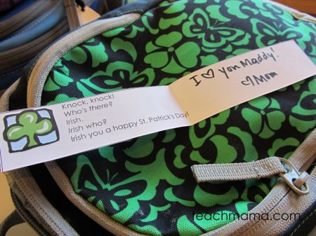 st. patrick's day joke lunchbox love notes teachmama.com