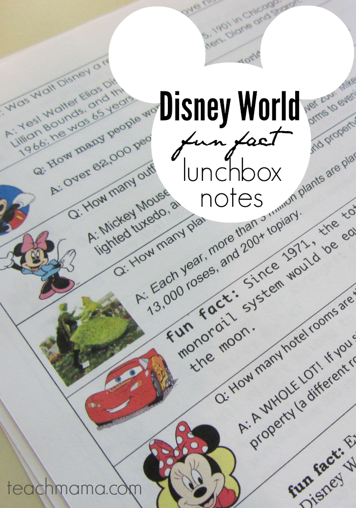 disney world fun fact lunchbox notes | teachmama.com