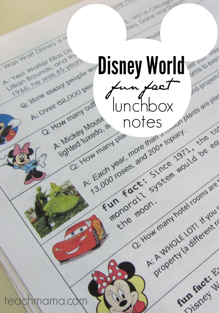 disney world fun fact lunchbox notes | teachmama.com