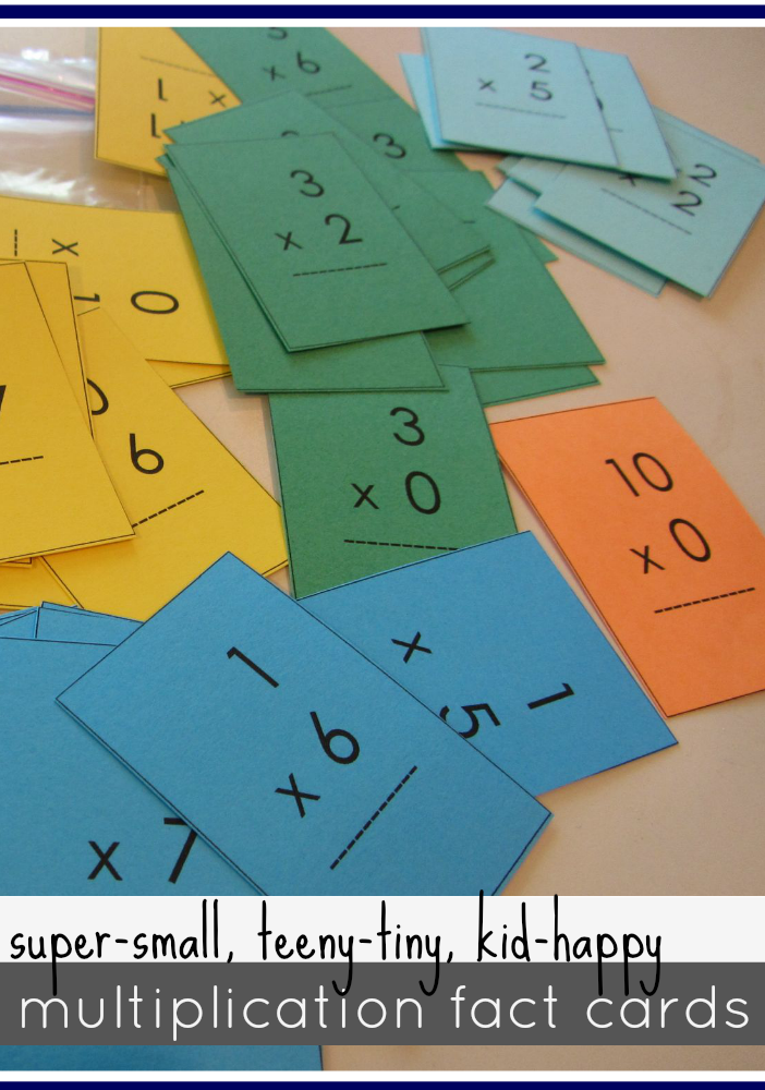 mini multiplication math fact cards