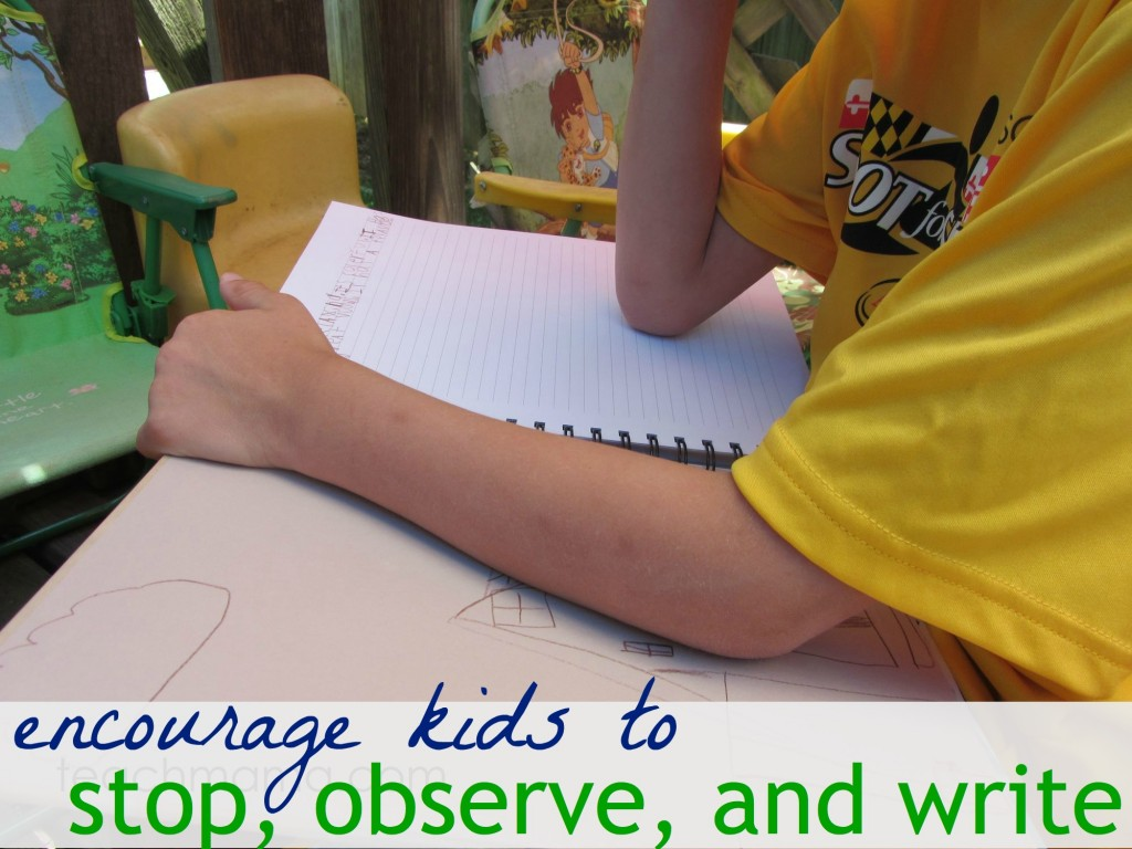 how to get kids to stop, observe and write