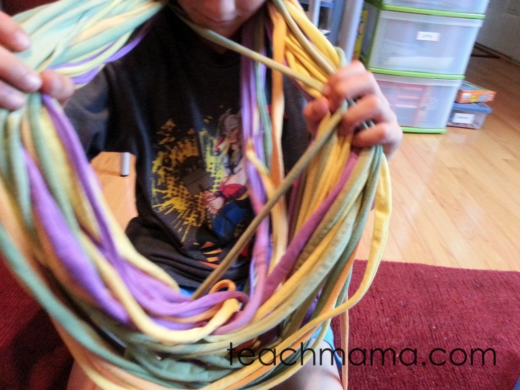 halloween scarf -- pulling strands