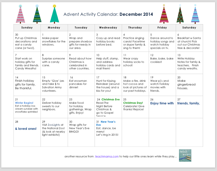 advent activity calendar | teachmama.com