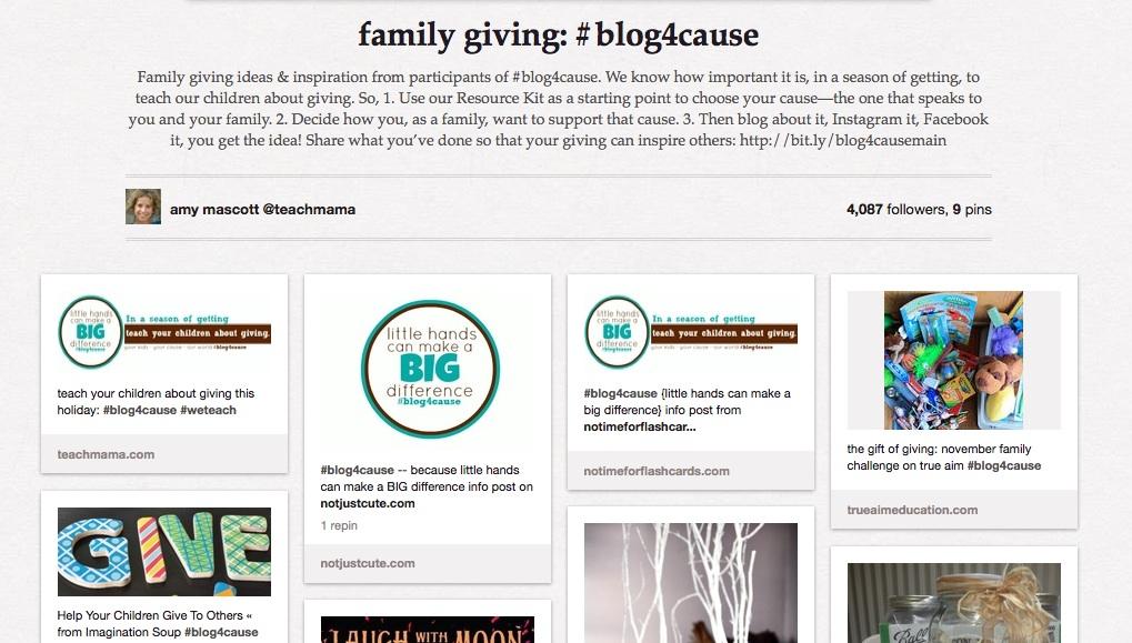 #blog4cause pinterest board