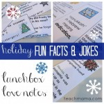 holiday fun fact AND joke lunchbox notes  (with hanukkah!)