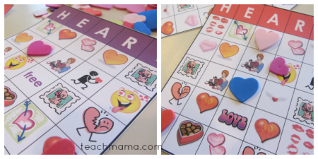 valentines day class party HEART bingo