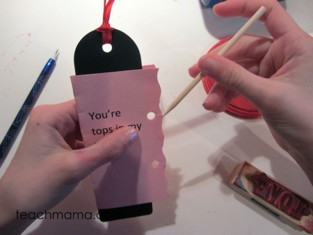 homemade bookmark valentines stick