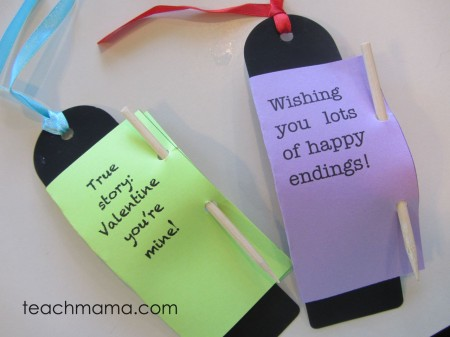 homemade bookmark valentines finished