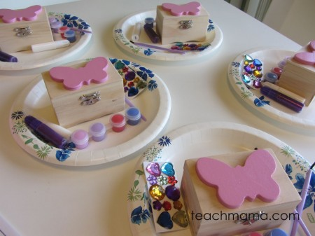 butterfly birthday bash - painting boxes