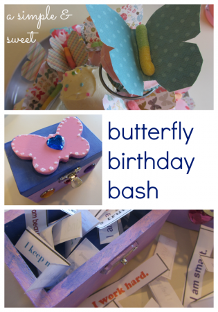 simple, sweet butterfly birthday with awesome ME boxes