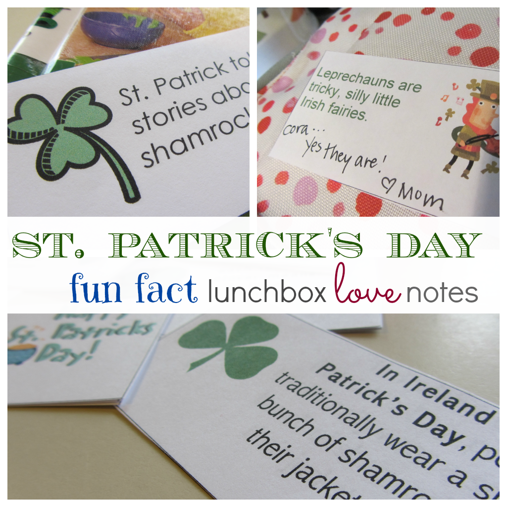 st. patricks day fun fact lunchbox notes