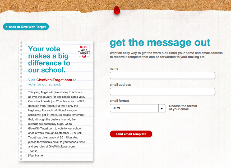 give with target email screener