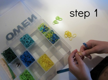 rainbow loom bracelets without the loom step 1