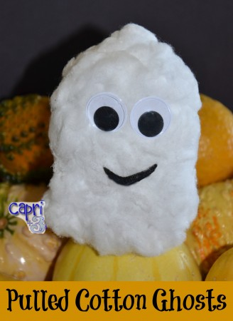 pulled cotton ghosts: halloween craft for little ones