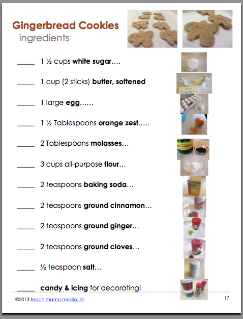 holiday baking with kids ebook ingredients