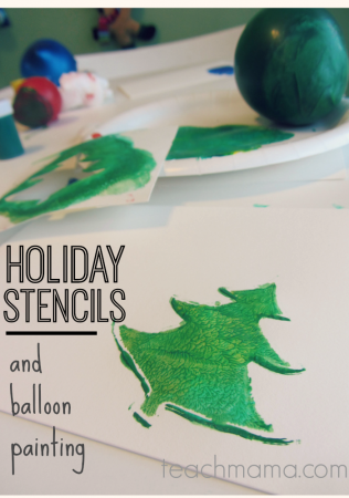holiday card stencils and balloon stamps