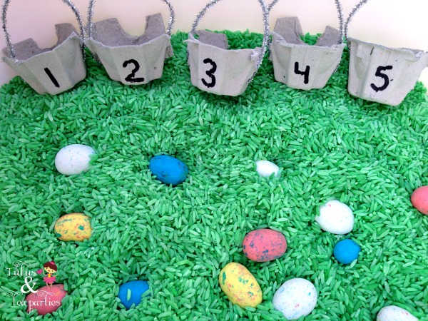 springtime easter sensory bin: egg hunt and count