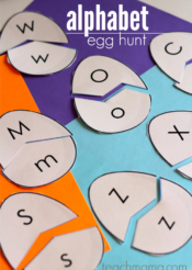 alphabet egg hunt: uppercase and lowercase letter match