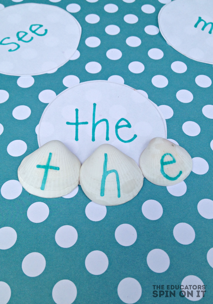 learn with seashells: letters and sight words | guest post by @educatorsspinon for @teachmama
