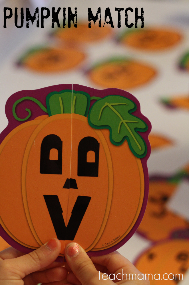 pumpkin match game | teachmama.com | easy halloween class party fun gets kids thinking and moving