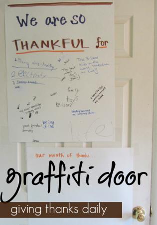 give thanks graffiti door | teachmama.com