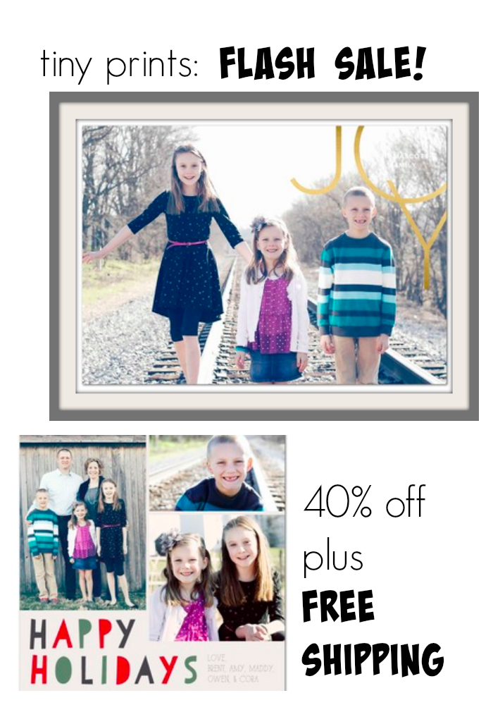tiny prints: holiday card weekend sale 40% off plus free shipping