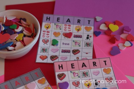 valentine's day heart bingo super-easy and fun for home or class parties | teachmama.com