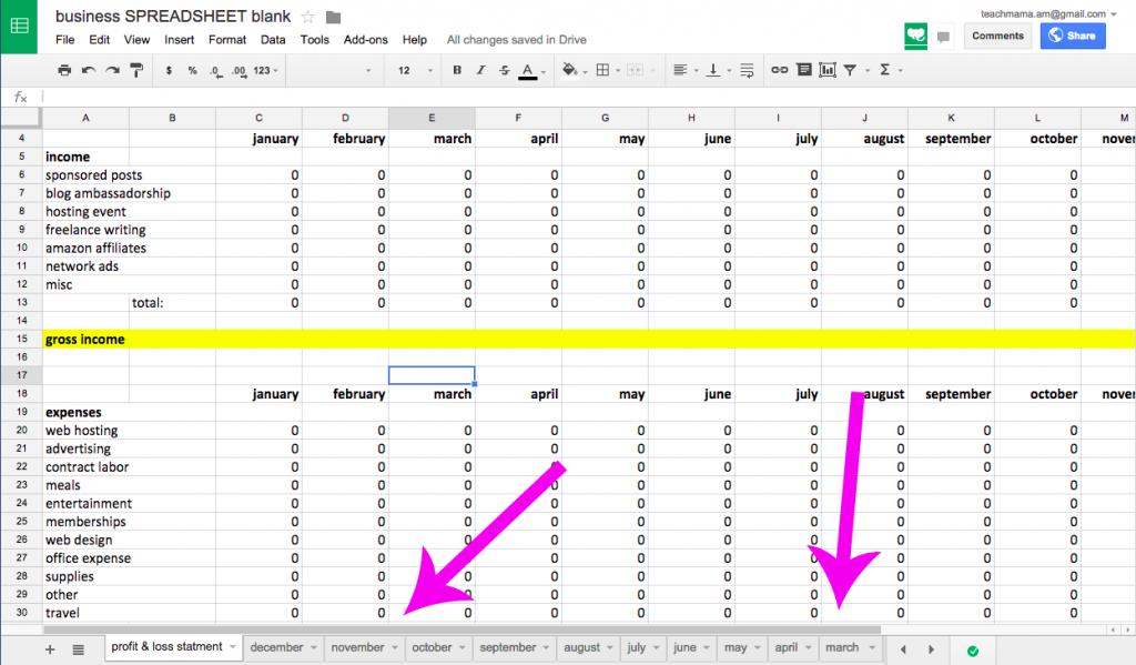 finances spreadsheet