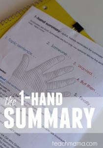 how to teach summary writing: the 1-hand summary