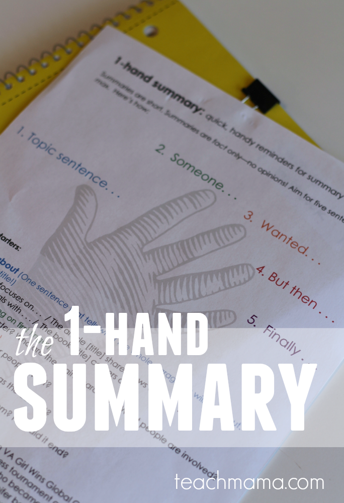 how to teach summary writing: the 1-hand summary