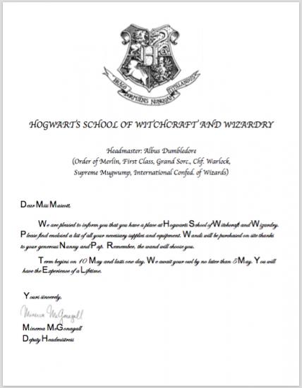 hogwarts acceptace letter | teachmama.com