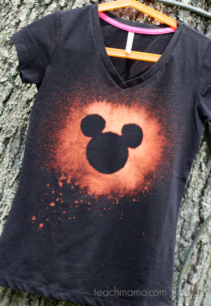 Bleached out disney t shirts for the not so crafty crafter for How to bleach designs into shirts