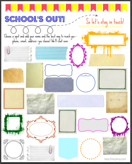 help kids stay in touch with friends when school's out: autograph sheet