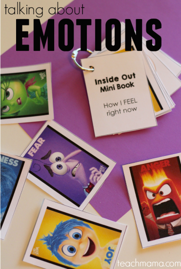 talk with kids about emotions: 'inside out' mini-book and card game
