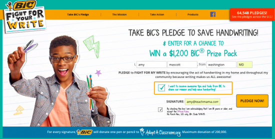 bic save handwriting